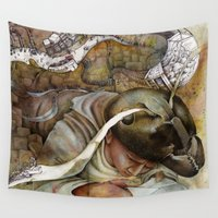 shopping Wall Tapestries featuring Ants/Shopping  by Andreas Derebucha
