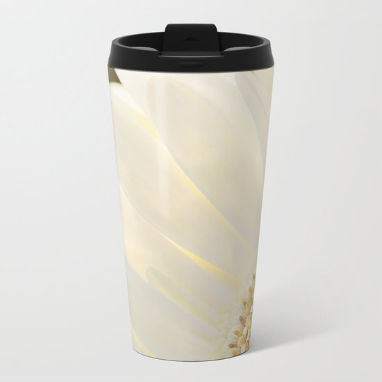 White Daisy in Love Metal Travel Mug