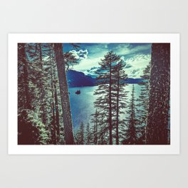 Crater Lake Vintage Summer Art Print