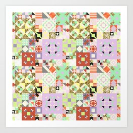 Geometric Quilt Pattern Art Print