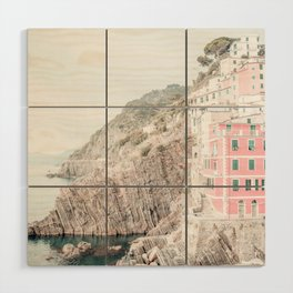 Positano, Italy pink-peach-white travel photography in hd. Wood Wall Art