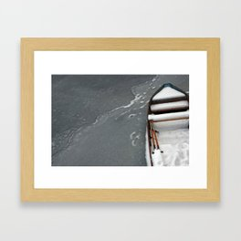 Old Boat On Ice Framed Art Print