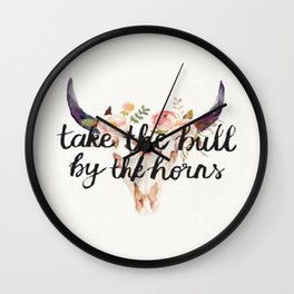 Take The Bull By The Horns Wall Clock