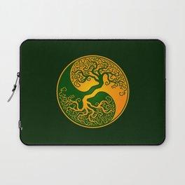 Green and Yellow Tree of Life Yin Yang Laptop Sleeve