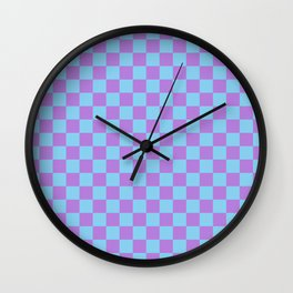 Lavender Violet and Baby Blue Checkerboard Wall Clock