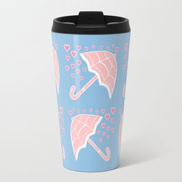 Pink Parasols & Soft Blue Pattern Travel Mug