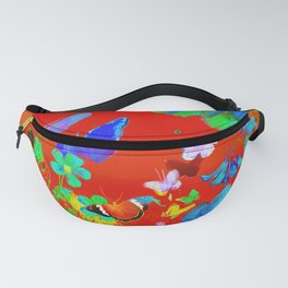 Red Butterflies & Flowers Fanny Pack
