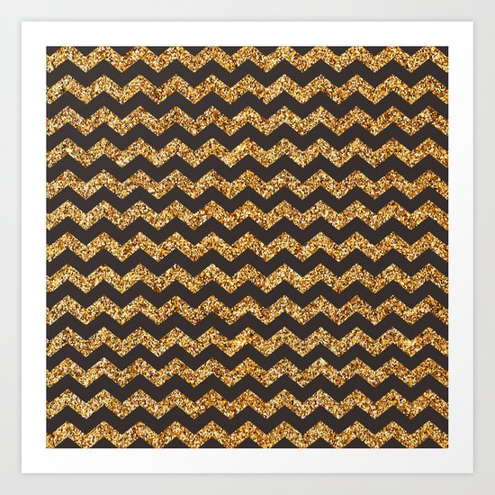 Dark Brown Gold Glitter Chevron Art Print
