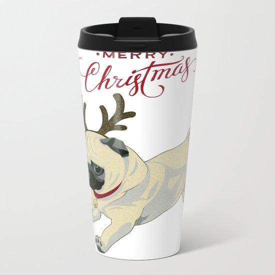 Deer Pug Metal Travel Mug