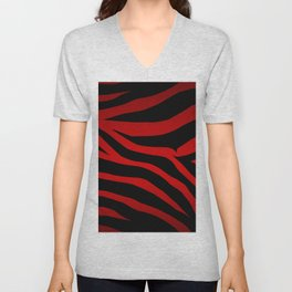 Rare Red Zebra Unisex V-Neck