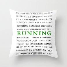 Running - Green  Throw Pillow