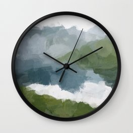 Gray Blue Lake White Clouds Green Mountain Reflection Abstract Nature Painting Art Print Wall Decor  Wall Clock