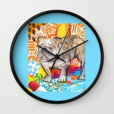 Bulldog pop art Wall Clock