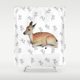 Deer and Poppies Shower Curtain