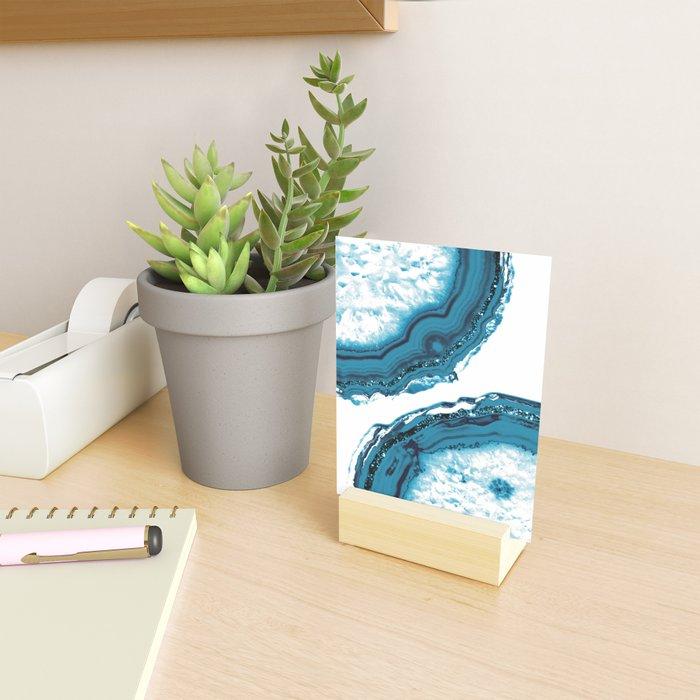 Blue Agate Glitter Glam #1 #gem #decor #art #society6 Mini Art Print