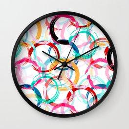 Abstract Black Blue Green Orange Pink Red Multi-Circular Art Design Wall Clock