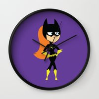 batgirl Wall Clocks featuring Batgirl by Adrian Mentus