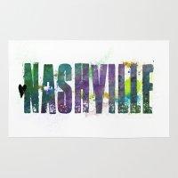 nashville Area & Throw Rugs featuring Nashville by Tonya Doughty