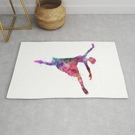 Ballerina Girl Colorful Watercolor Rug