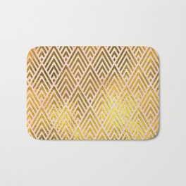 Gold foil triangles on pink - Elegant and luxury triangle pattern Bath Mat