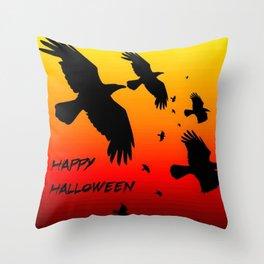 Happy Halloween Murder of Crows  Throw Pillow