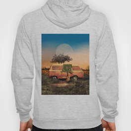 summer sunset landscape with skull and guitar Hoody