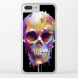 colorful skull black Clear iPhone Case