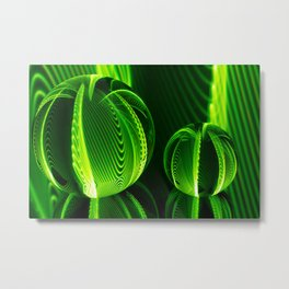 Lime lines in the glass balls. Metal Print