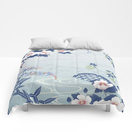 Elegant Light Blue Japanese Flower Garden Comforters