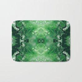 Green Digital Fluid Acrylic Art Print Bath Mat