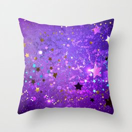 Purple Background with Stars Throw Pillow