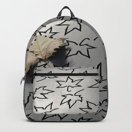 Black and White and Natural Leaves Backpack