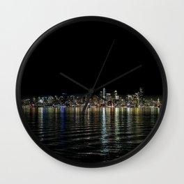 Seattle Night Sea Wall Clock