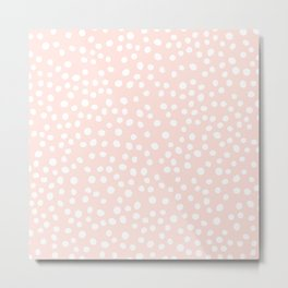 Pink and white doodle dots Metal Print