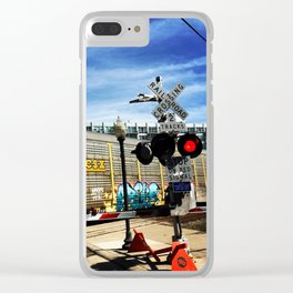 railroad crossing Clear iPhone Case