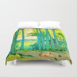 Yoshida Hiroshi Bamboo Grove Vintage Japanese Woodblock Print Bright Green Bamboo Landscape Forest Duvet Cover