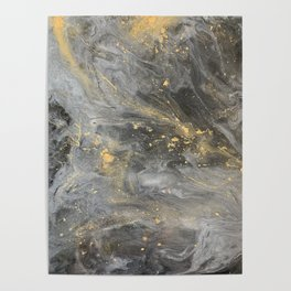 Black and Gold Galaxy Marble effect Poster