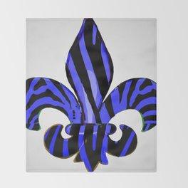 Fleur De Lis Blue Zebra Print Throw Blanket
