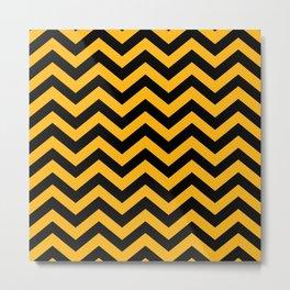 Black & Gold Chevron Zig Zag Pattern Metal Print