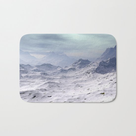 Snow Covered Mountains Bath Mat