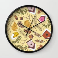 70s Wall Clocks featuring 70s Woodland by Aron Gelineau