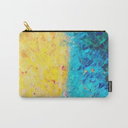 THE DIVIDE - Stunning Bold Colors, Ocean Waves Sun, Modern Beach Chic Theme Abstract Painting Carry-All Pouch
