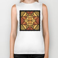 sacred geometry Biker Tanks featuring Sacred geometry - Voronoi by Enrique Valles