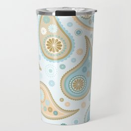 Paisley Funky Design Blues Creams & Caramels Travel Mug
