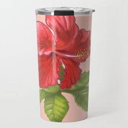 Pink Hibiscus Flower Travel Mug