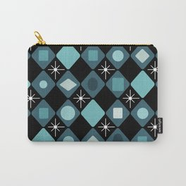 Mid Century Modern Black & Turquoise Diamonds Carry-All Pouch