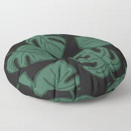 Monstera Split Leaf in Black Floor Pillow