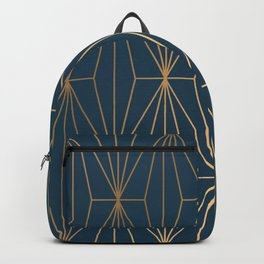 Benjamin Moore Hidden Sapphire Geometric Gold Pattern  Backpack
