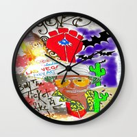 fear and loathing Wall Clocks featuring GONZO Fear and Loathing Print by Just Bailey Designs .com