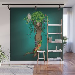 Mystical Maiden Tree With White Owl Wall Mural